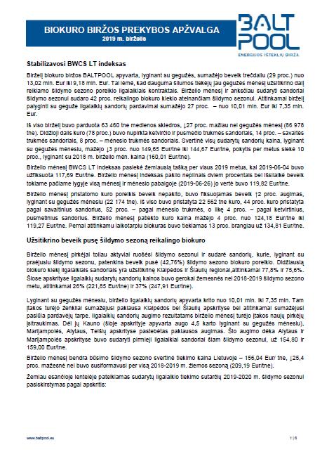 Biokuro biržos apžvalga – 2019 m. birželis