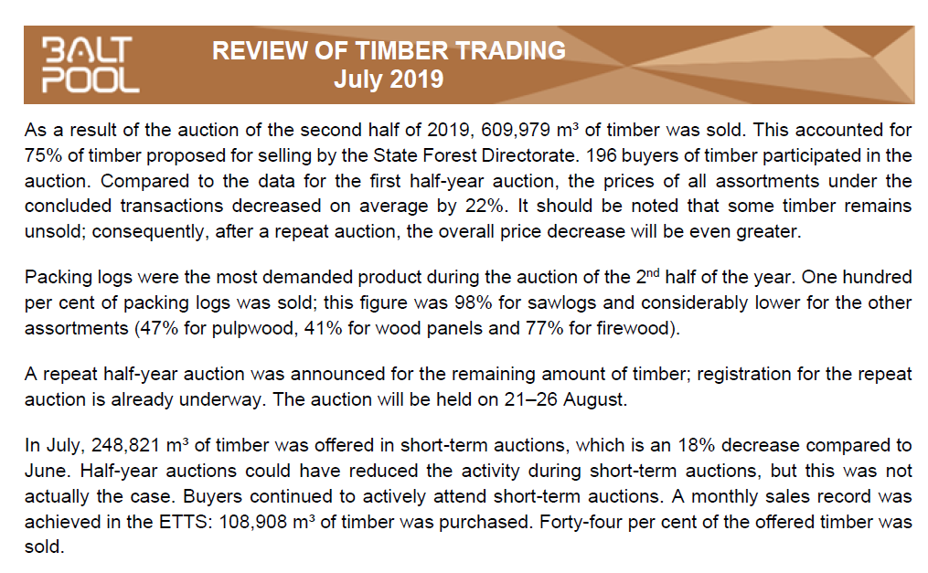 Timber Exchange review – July 2019