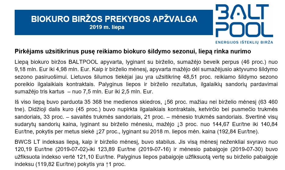 Biokuro biržos apžvalga – 2019 m. liepa