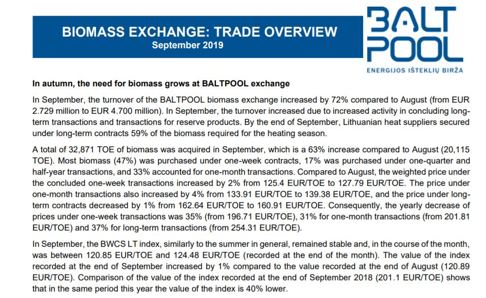 September 2019 Energy Exchange: trade overview