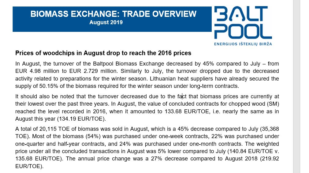 August 2019 energy exchange: trade overview