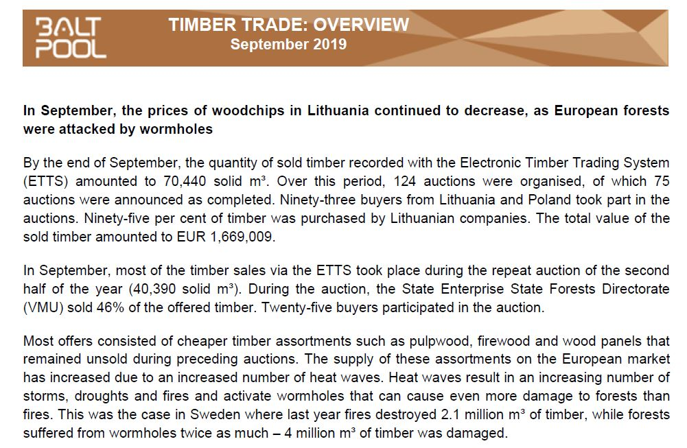 September 2019 review of timber trade